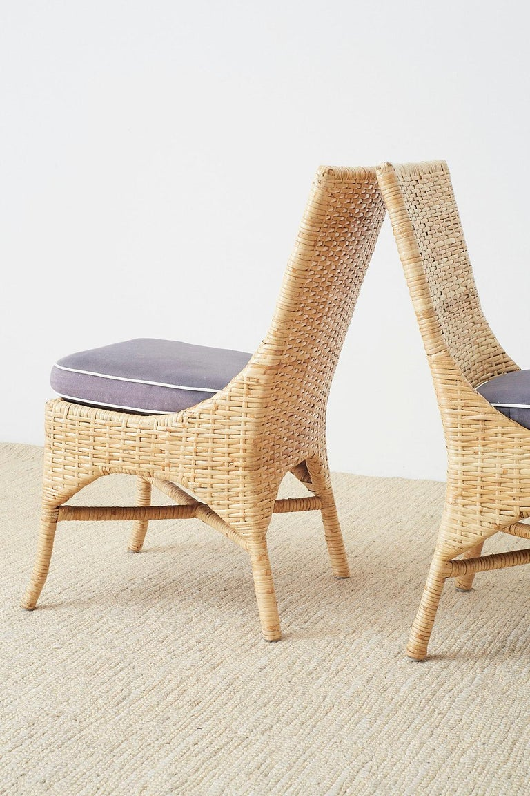 Set of Four McGuire Woven Rattan Wicker Dining Chairs For Sale 8
