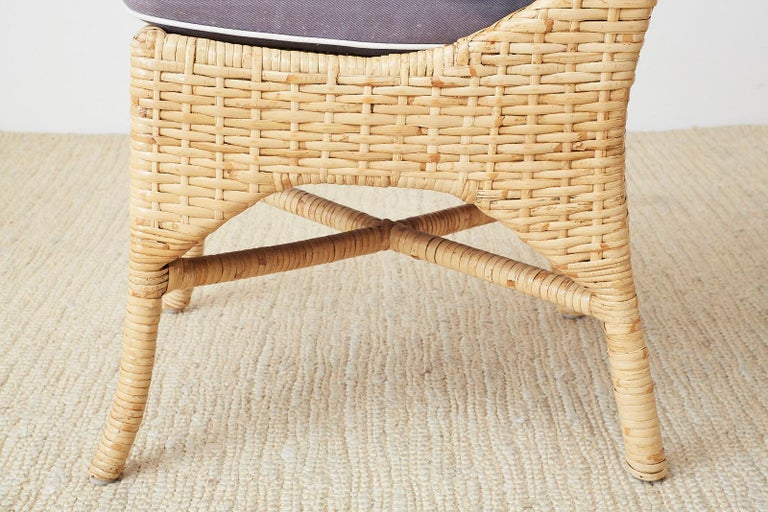 Set of Four McGuire Woven Rattan Wicker Dining Chairs For Sale 9