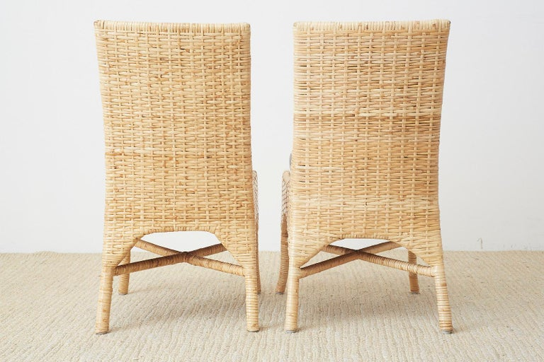 Set of Four McGuire Woven Rattan Wicker Dining Chairs For Sale 10