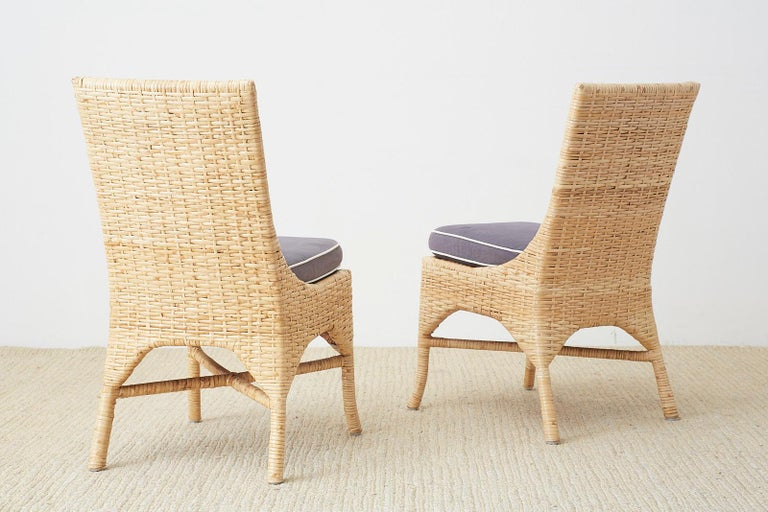 Set of Four McGuire Woven Rattan Wicker Dining Chairs For Sale 12