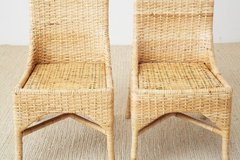 Set of Four McGuire Woven Rattan Wicker Dining Chairs For Sale 13