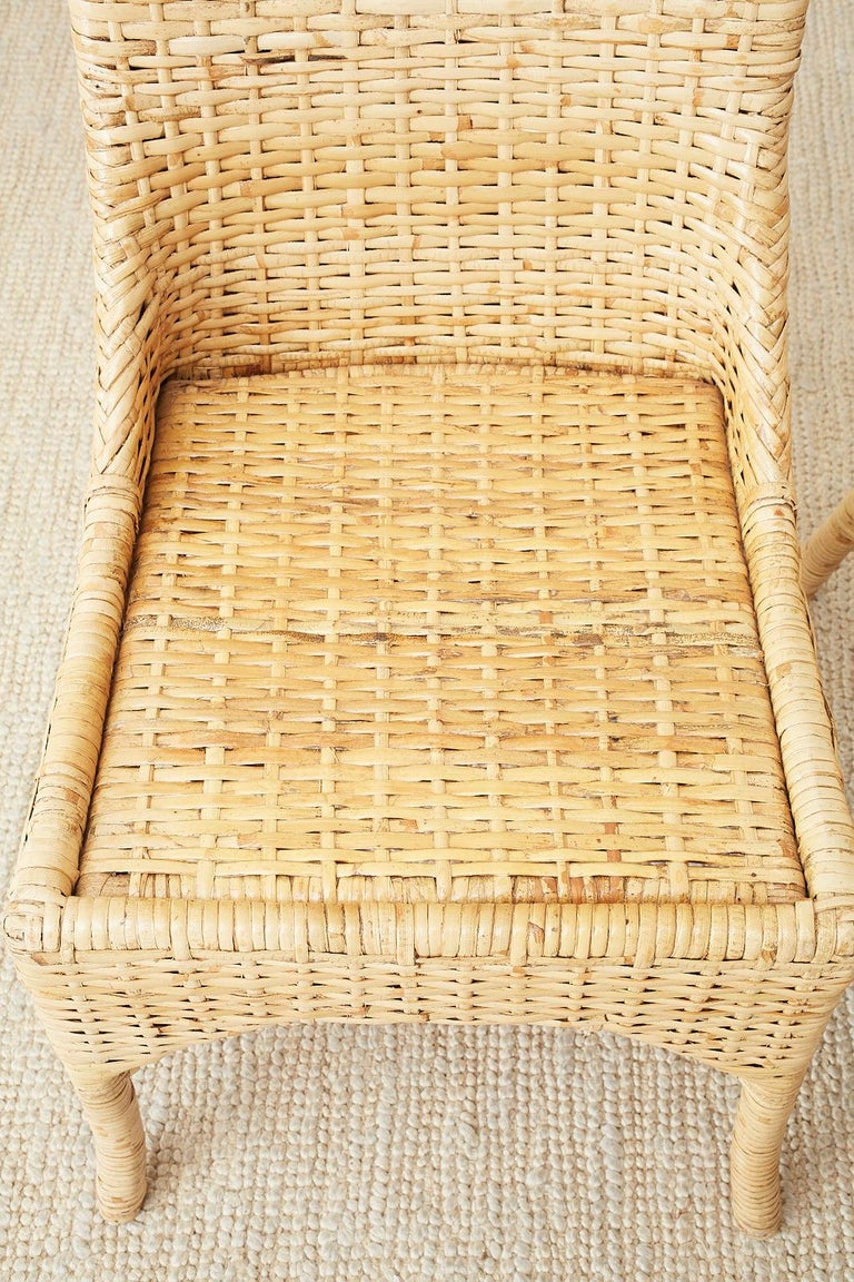 Set of Four McGuire Woven Rattan Wicker Dining Chairs For Sale 14