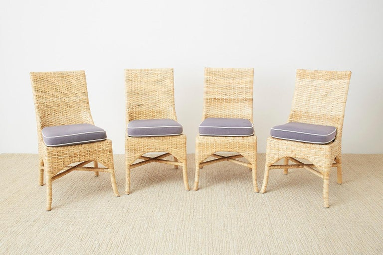 Set of Four McGuire Woven Rattan Wicker Dining Chairs In Good Condition For Sale In Oakland, CA