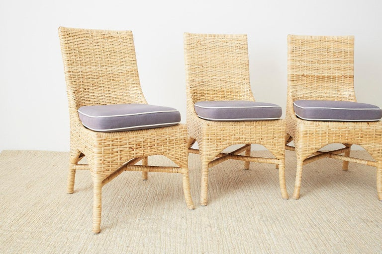 Set of Four McGuire Woven Rattan Wicker Dining Chairs For Sale 1