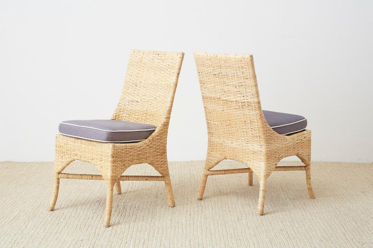 Set of Four McGuire Woven Rattan Wicker Dining Chairs For Sale 3