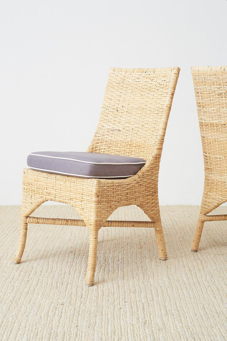 Set of Four McGuire Woven Rattan Wicker Dining Chairs For Sale 4