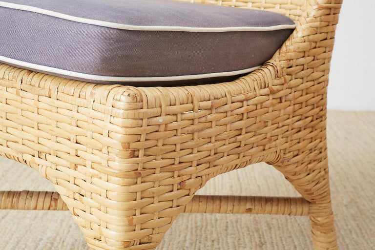 Set of Four McGuire Woven Rattan Wicker Dining Chairs For Sale 5