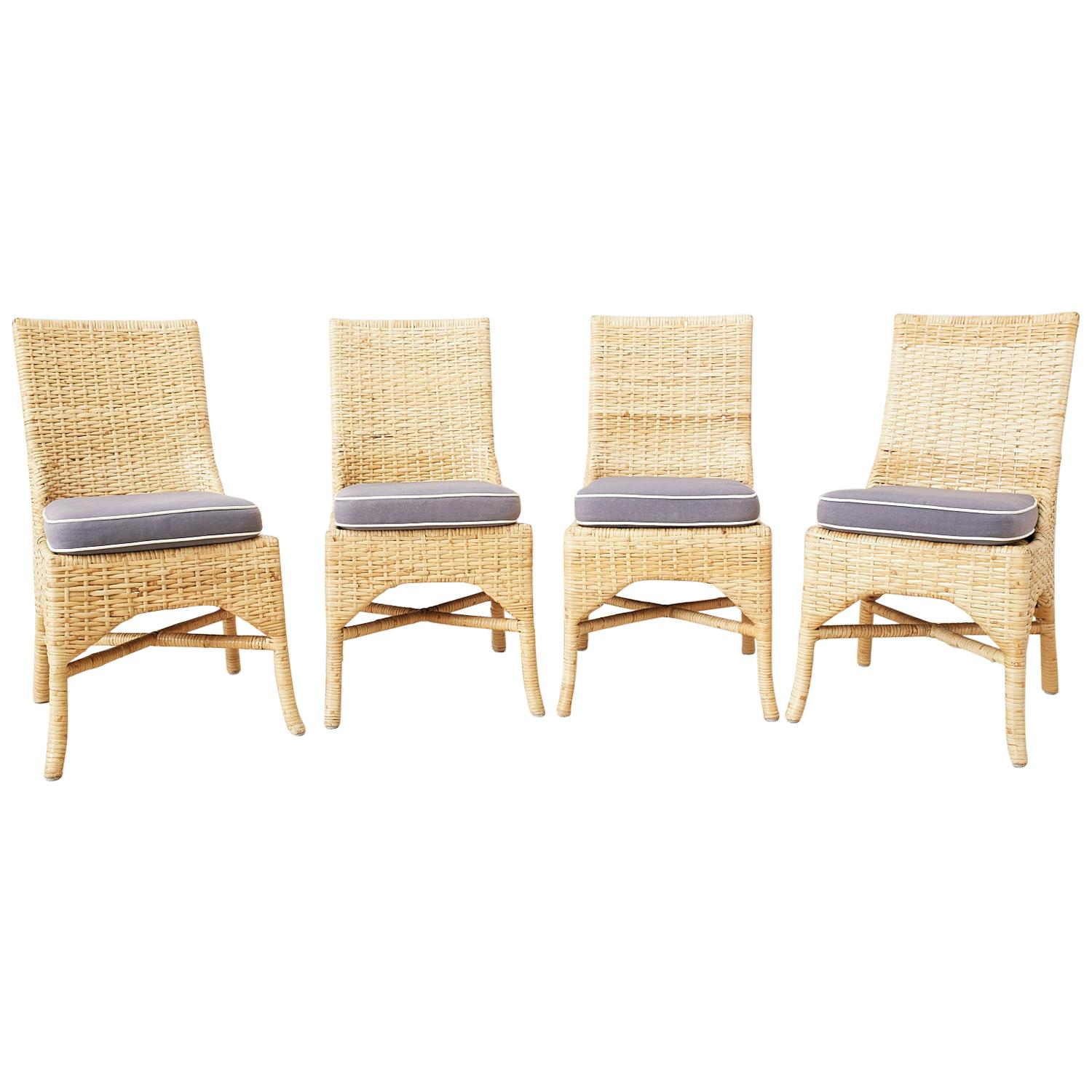 Set of Four McGuire Woven Rattan Wicker Dining Chairs