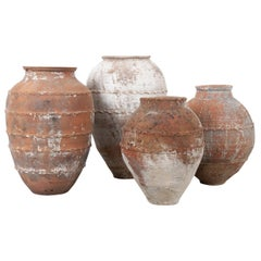 Set of Four Mediterranean 19th Century Terracotta Storage Jars
