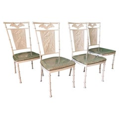 Set of Four Metal Faux Bamboo Palm Tree Chairs