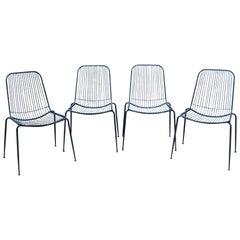 Set of Four Metal Rod Garden Chairs, circa 1970