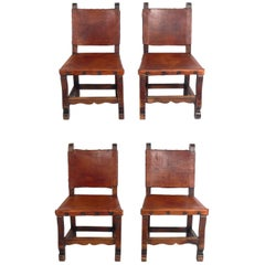 Set of Four Mexican Leather Dining Chairs