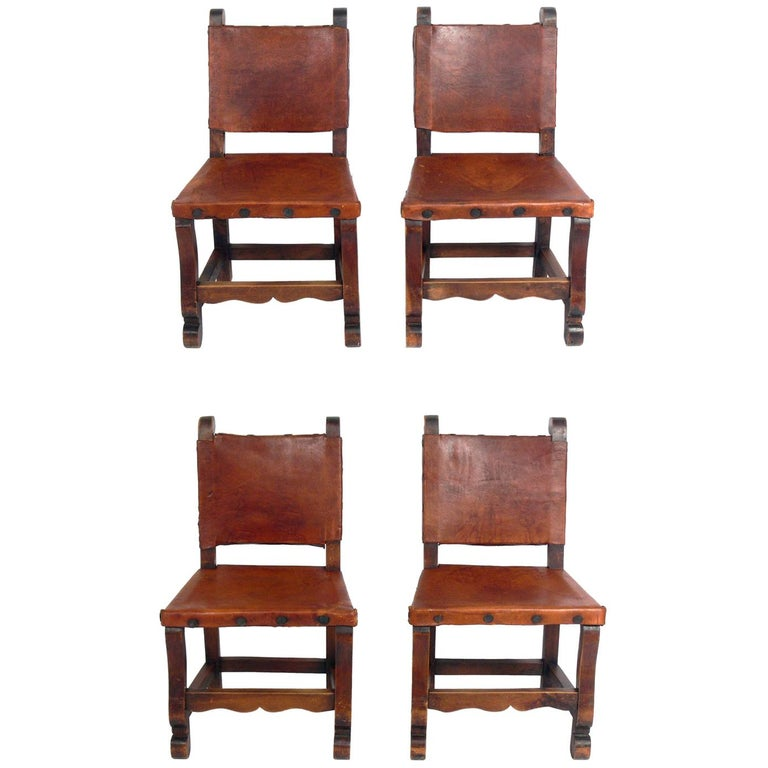 Four Mexican Leather Dining Chairs, Mexican Wood Furniture