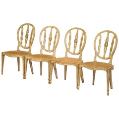 Set of Four Mid-19th Century Hepplewhite Style Painted Chairs with Cane Seat