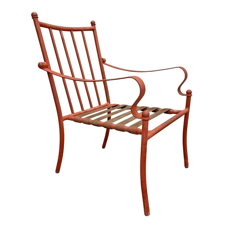 Set of Four Mid-20th Century American Iron Patio Chairs For Sale 1