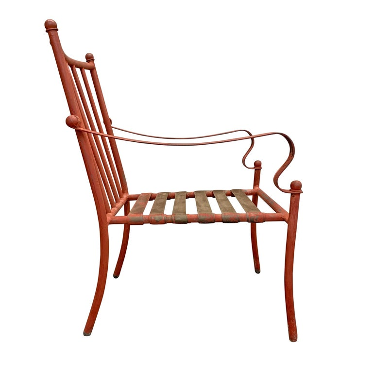 Set of Four Mid-20th Century American Iron Patio Chairs For Sale 2