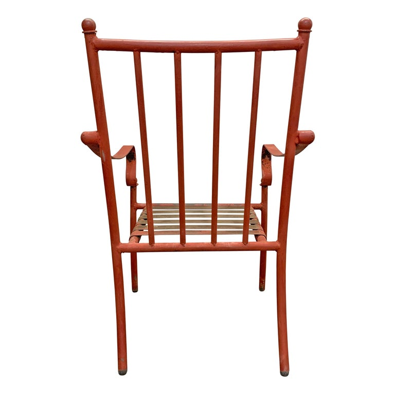 Set of Four Mid-20th Century American Iron Patio Chairs For Sale 3