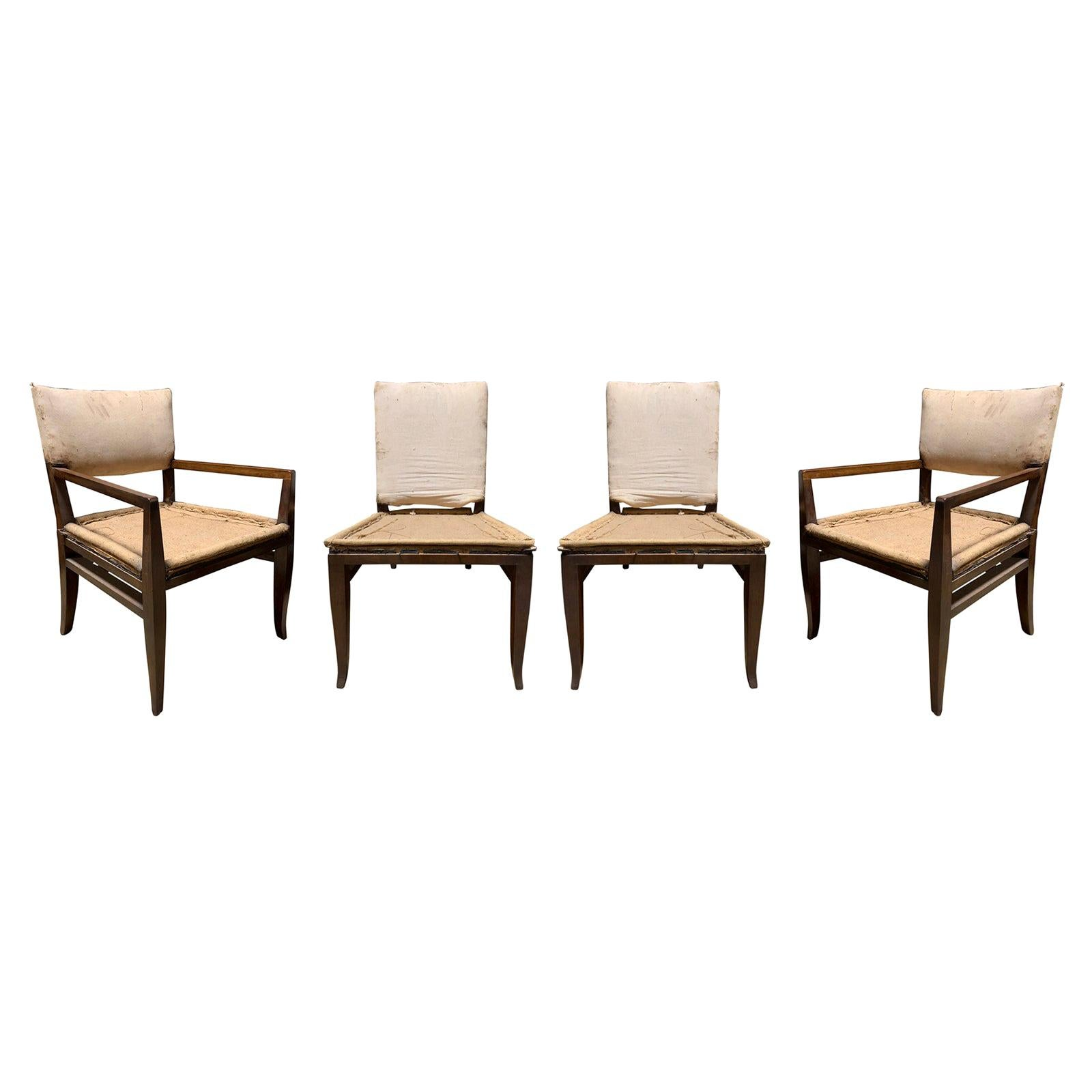 Set of Four Mid-20th Century T.H. Robsjohn-Gibbings Style Wood Chairs