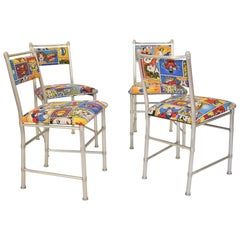 Set of Four Midcentury Art Deco Aluminium Dining Chairs by Warren McArthur, 1970