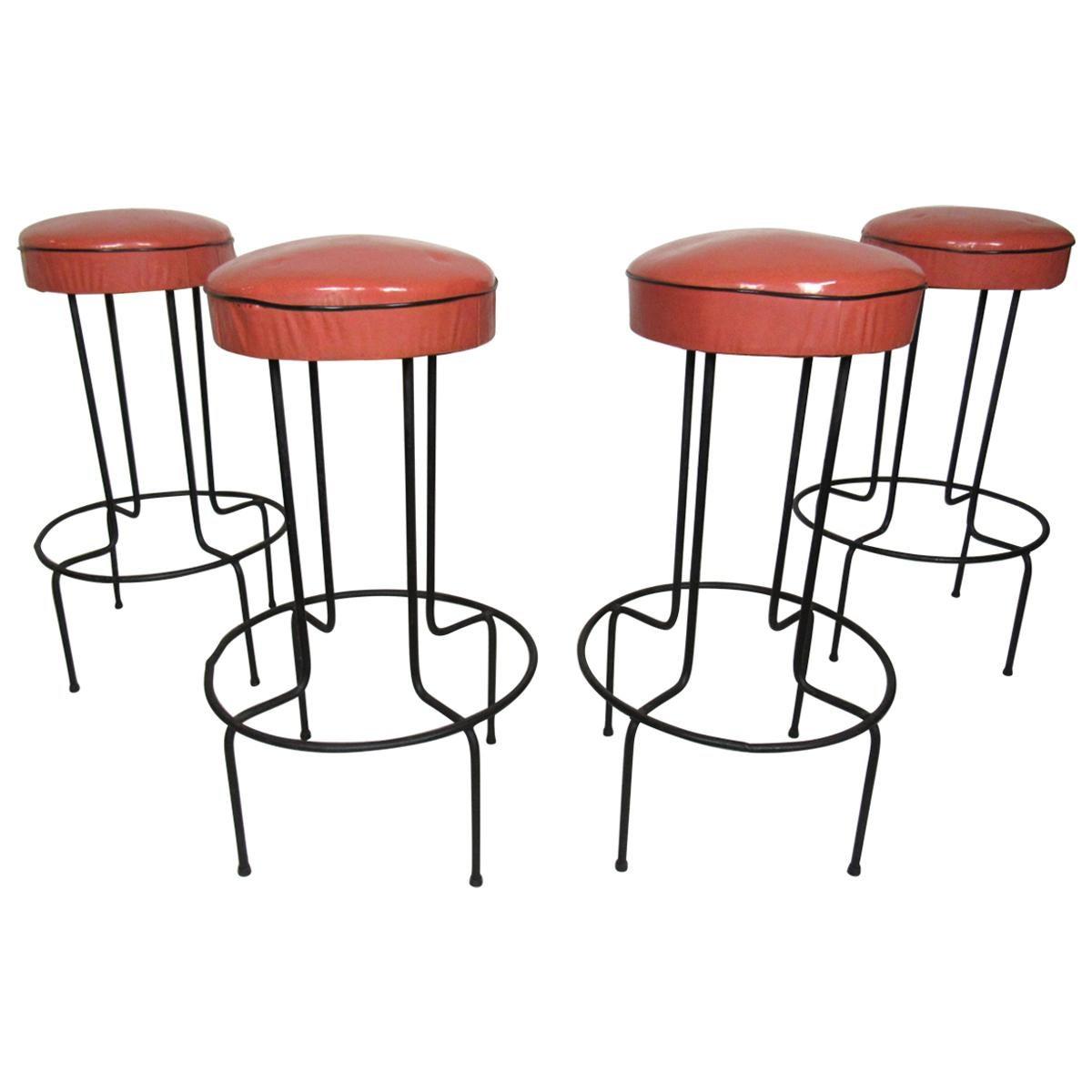 Set of Four Midcentury Barstools