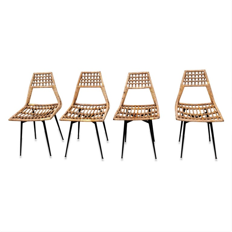 Mid-Century Modern Set of Four Midcentury Basket Rattan Chairs, Italy, 1960s For Sale