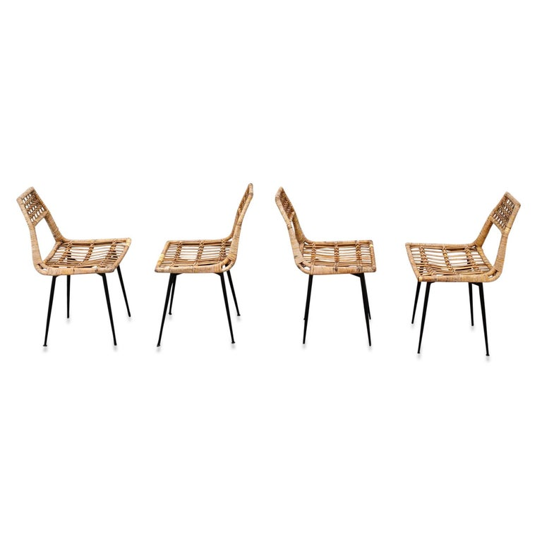 Lacquered Set of Four Midcentury Basket Rattan Chairs, Italy, 1960s For Sale