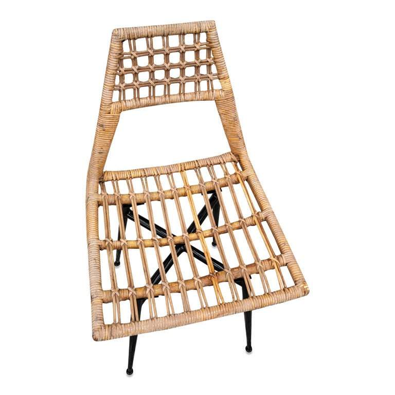 Mid-20th Century Set of Four Midcentury Basket Rattan Chairs, Italy, 1960s For Sale