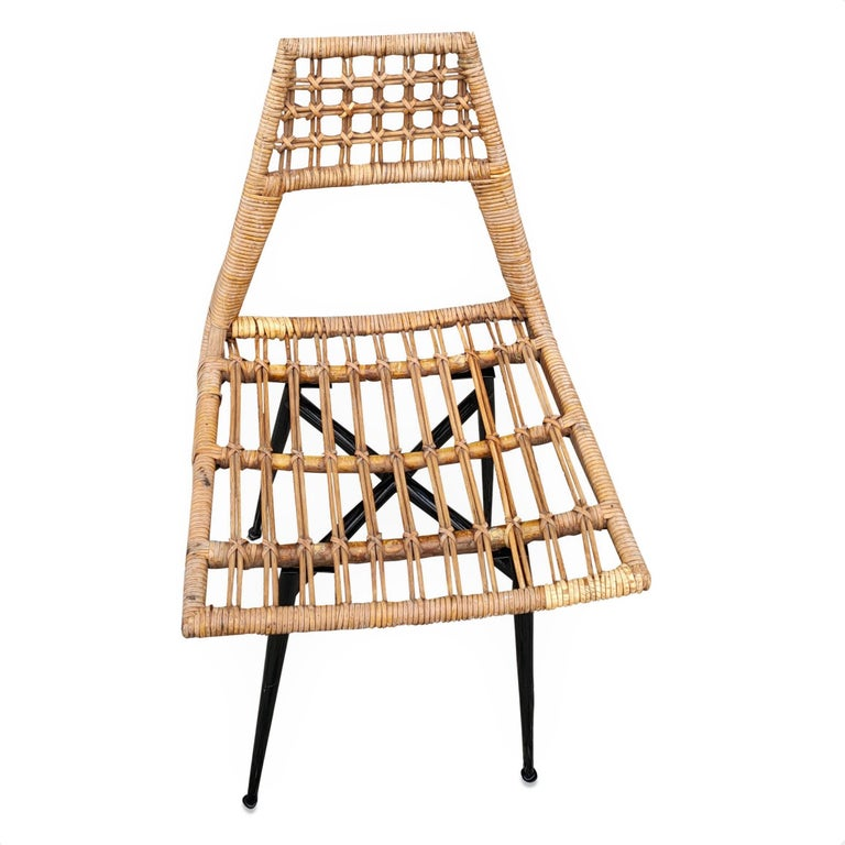 Steel Set of Four Midcentury Basket Rattan Chairs, Italy, 1960s For Sale