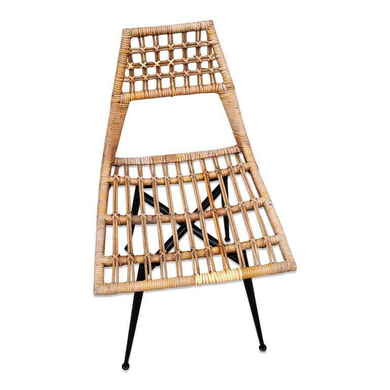 Set of Four Midcentury Basket Rattan Chairs, Italy, 1960s For Sale 1