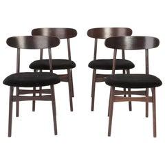 Set of Four Mid Century Black Velvet Chairs, 1960s