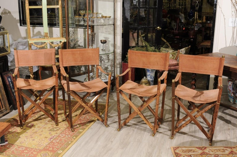 Mid-Century Modern Set of Four Midcentury Campaign Folding Chairs For Sale
