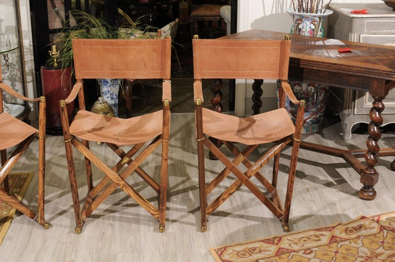 Spanish Set of Four Midcentury Campaign Folding Chairs For Sale