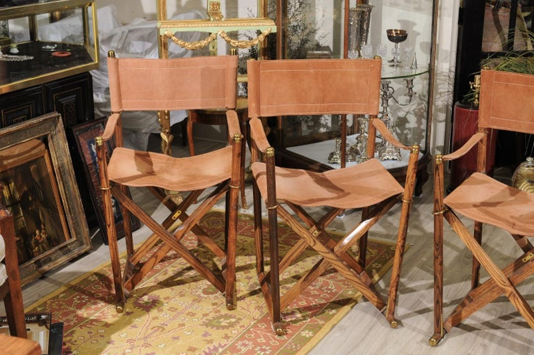 Set of Four Midcentury Campaign Folding Chairs In Good Condition For Sale In Chamblee, GA