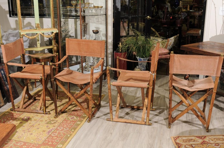20th Century Set of Four Midcentury Campaign Folding Chairs For Sale