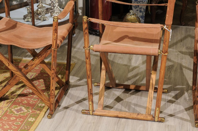 Brass Set of Four Midcentury Campaign Folding Chairs For Sale