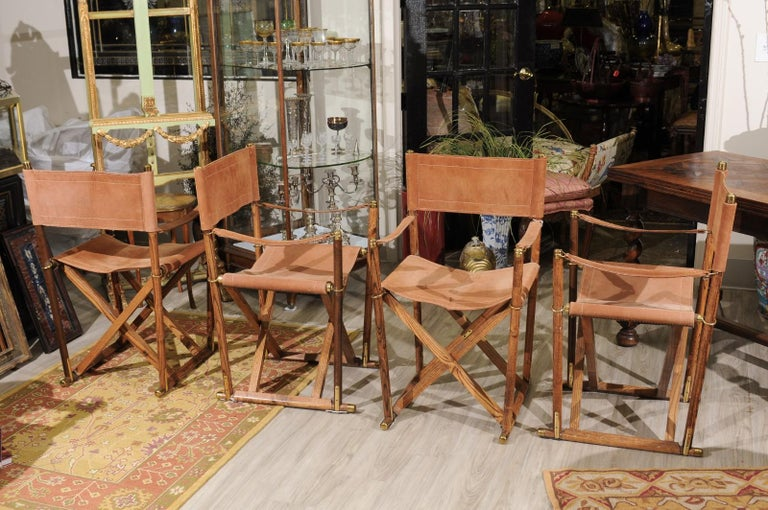 Set of Four Midcentury Campaign Folding Chairs For Sale 1