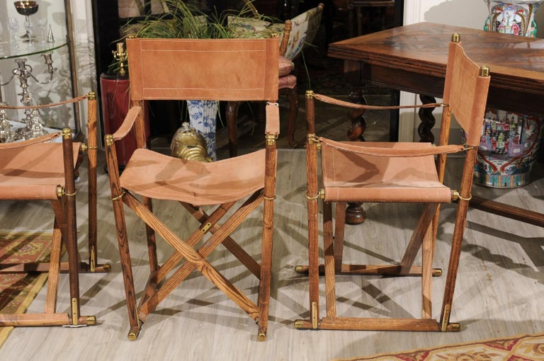 Set of Four Midcentury Campaign Folding Chairs For Sale 2