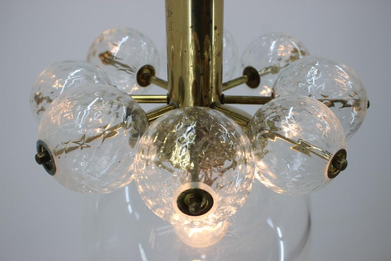 Czech Set of four Midcentury Chandeliers Kamenicky Senov, 1970s. For Sale