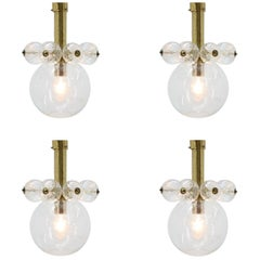 Set of four Midcentury Chandeliers Kamenicky Senov, 1970s.