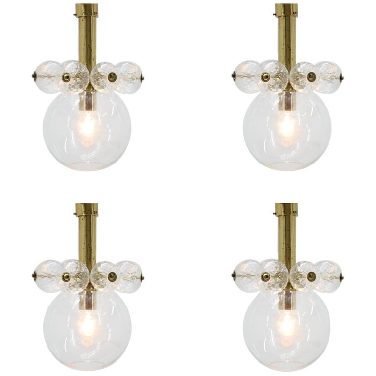 Set of four Midcentury Chandeliers Kamenicky Senov, 1970s. For Sale