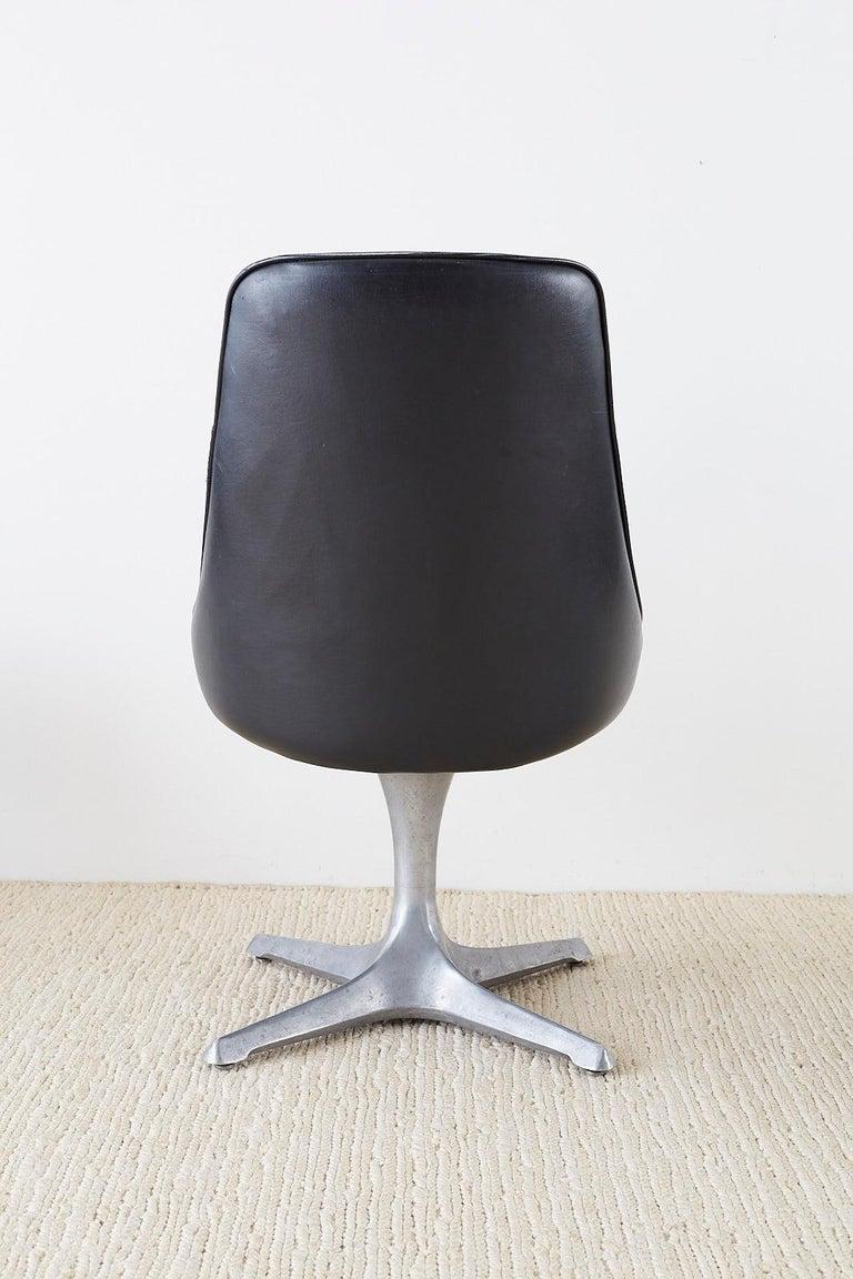 Set of Four Midcentury Chromcraft Zebra Swivel Dining Chairs For Sale 2