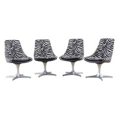 Set of Four Midcentury Chromcraft Zebra Swivel Dining Chairs