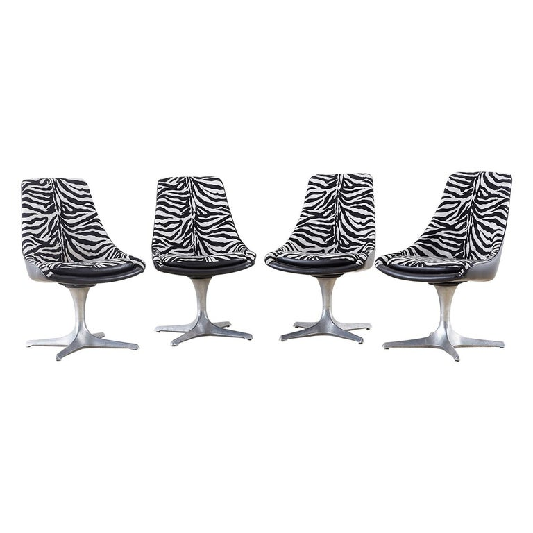 Set of Four Midcentury Chromcraft Zebra Swivel Dining Chairs For Sale