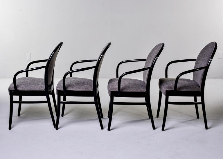 Mid-Century Modern Set of Four Midcentury Ebonized Bentwood Chairs For Sale