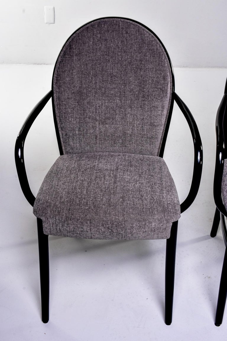 Set of Four Midcentury Ebonized Bentwood Chairs In Good Condition For Sale In Troy, MI