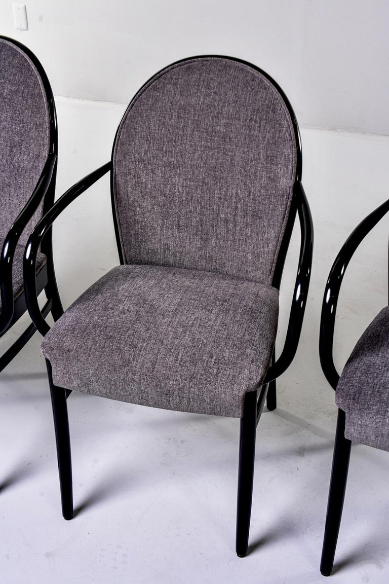 20th Century Set of Four Midcentury Ebonized Bentwood Chairs For Sale