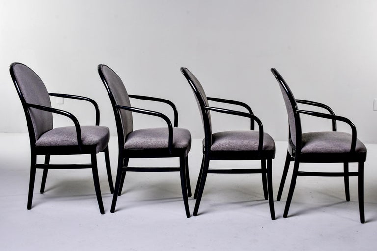 Set of Four Midcentury Ebonized Bentwood Chairs For Sale 1