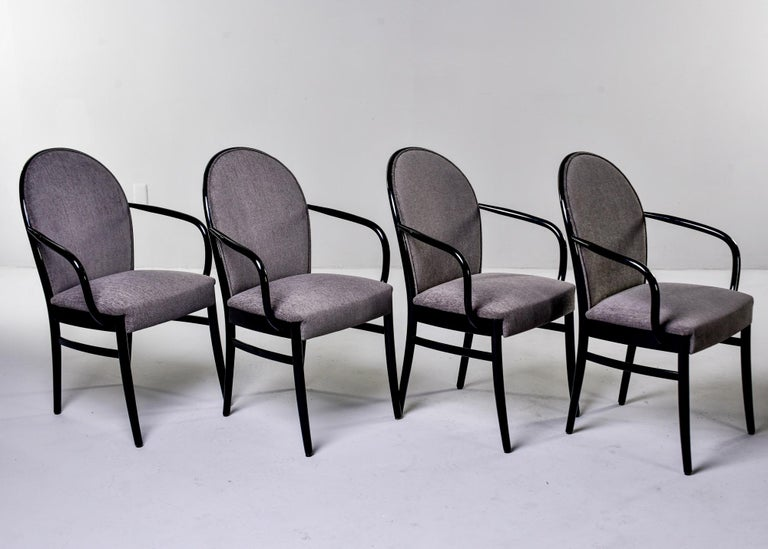 Set of Four Midcentury Ebonized Bentwood Chairs For Sale 2