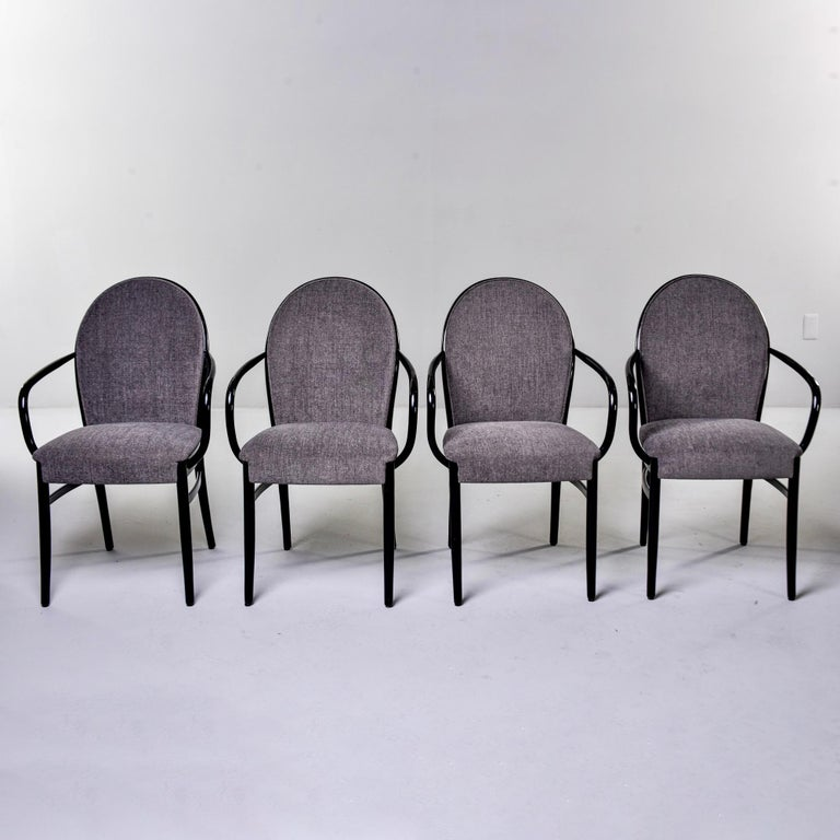Set of Four Midcentury Ebonized Bentwood Chairs For Sale 3