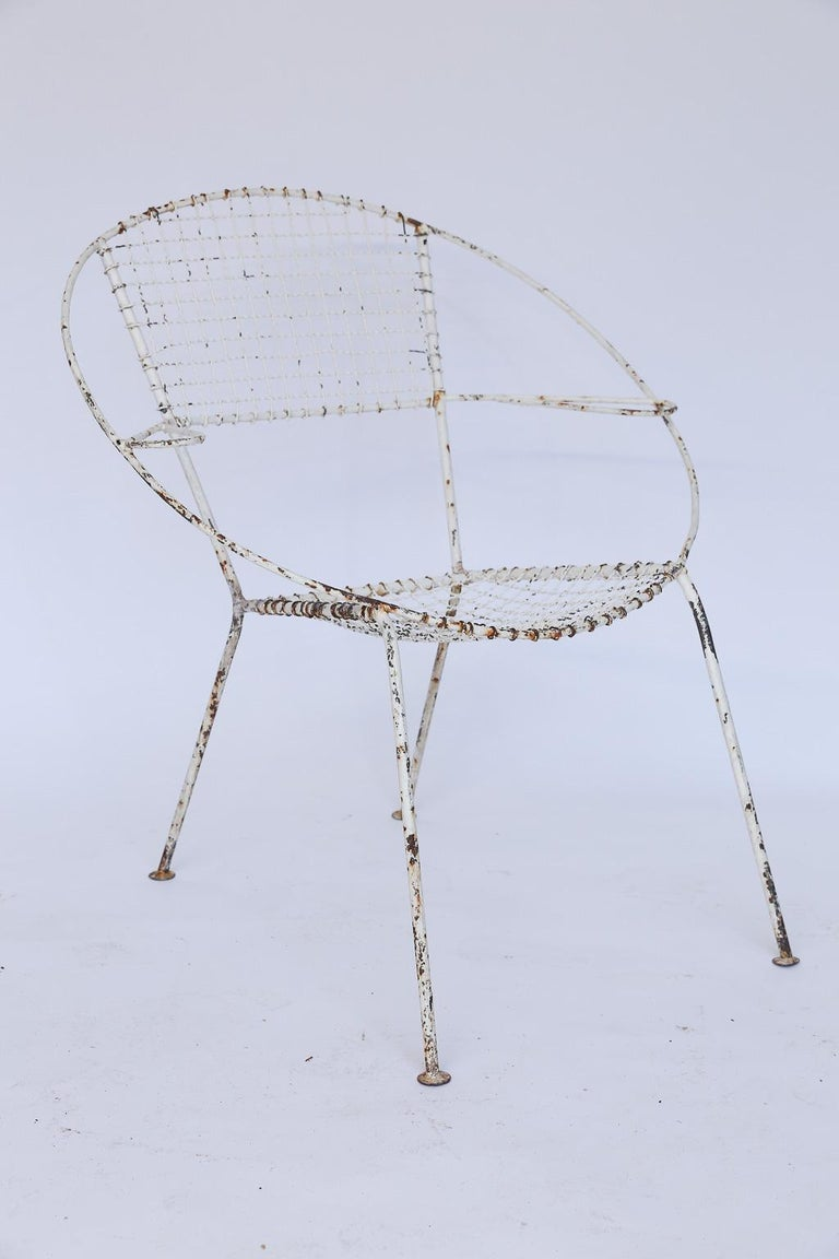 Set of Four Midcentury French Garden Chairs For Sale 1